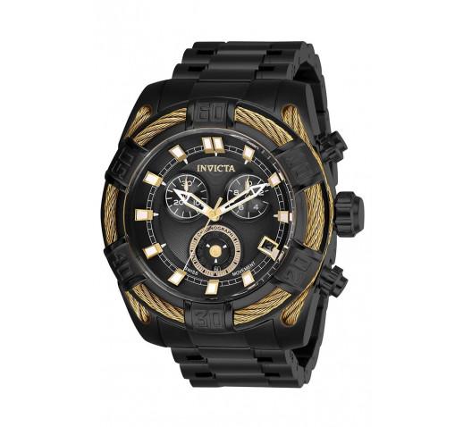 Invicta Bolt Полностью Черные с Золотым Тросом Часы 51 мм Мужские - 26996