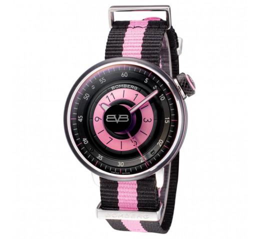 Bomberg BB-01 Чёрно-Розовый Ремешок Женские Швейцарские Часы 38 мм
