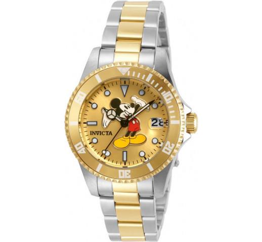 Invicta Disney Mickey Mouse Серебристо-Золотые Женские Часы 34мм - 32390