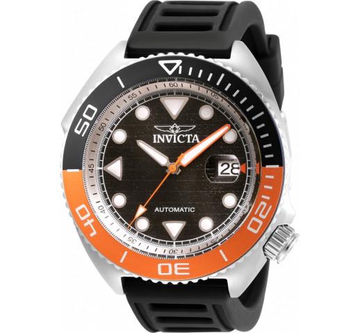 Invicta Pro Diver Sea Wolf Чёрно-Оранжевые Часы Ремешок Механика - 30423
