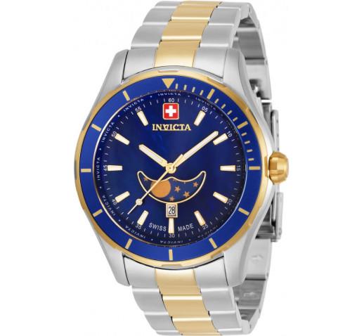 Invicta Pro Diver Swiss Made Синий Циферблат Фаза Луны Двухцветные Часы - 33467