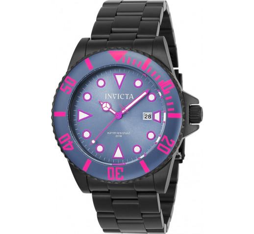 Invicta Pro Diver Полностью Чёрные Мужские Часы Фиолетовые Акценты - 90301