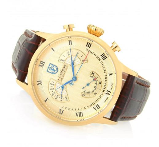 S. Coifman Золотистые Мужские Часы с Вечным Календарём 42мм - SC0351